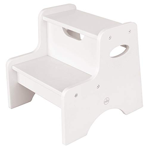 KidKraft Wooden Two Step Children's Stool with Handles- White, Model:15501