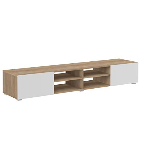 Marchio Amazon -Movian Lijoki - Mobile TV, 185 x 42 x 31 cm (L x P x A), colore quercia e bianco