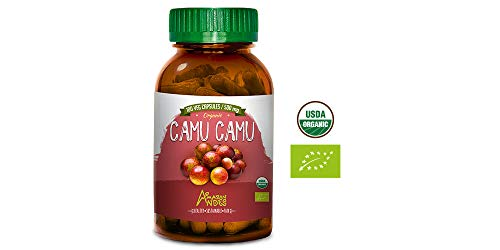 Amazon Andes® Organic Raw Camu camu Berry - 100 Capsules - USDA and FDA Certified - Powerful Vitamin C - Antioxidant - Vegan - Non GMO