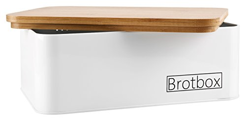 MASTRO HOME Brotkasten - Designer Brotbox mit integriertem Bambusschneidebrett ALS Deckel - Minimalistisches Design - Masse ca. 33 x 21 x 12cm Gross - Brotkorb - Brotdose