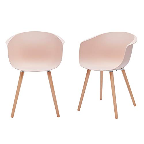 Amazon Brand - Rivet Alva Modern Curved-Back Plastic Dining Chair, Set of 2, 23.2'W, Nude Pink