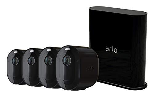 Arlo Pro3 VMS4440B-100EUS Sistema di Videosorveglianza Wi-Fi con 4 Telecamere 2K Hdr, Audio 2 Vie, Visione Notturna a Colori, Faro e Sirena Integrati, Visione 160°, Interno/Esterno, Nero