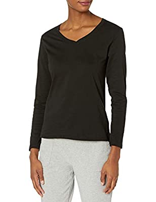Flattering, feminine fit V-neck styling Preshrunk 100 percent cotton for a lasting, true fit All the comfort of Hanes, with our famous tag-free collar Available in a variety of colors