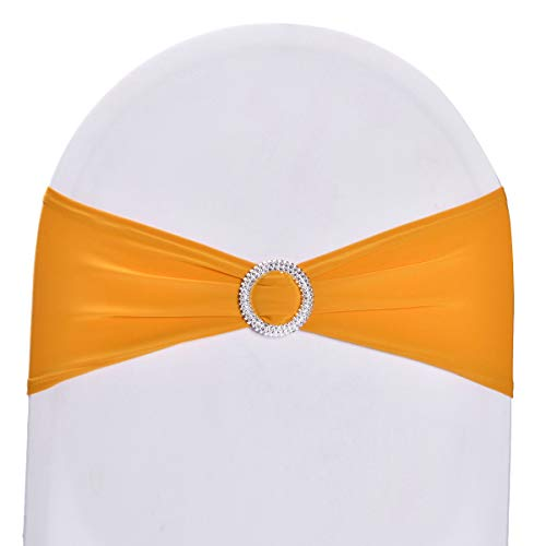 SweetEver Pack of 10 Stretch Spandex Chair Sashes for Wedding Party Banquet Decoration Elastic Bulk Chair Cover with Buckle Engagement Event Birthday Graduation Meeting Gold