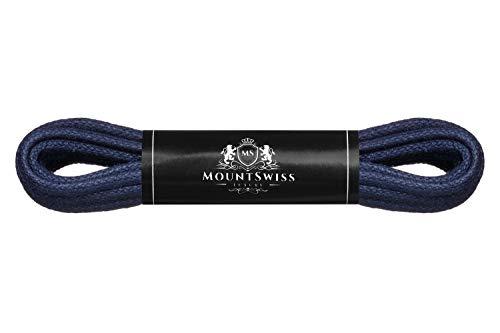 Cordones Mount Swiss© Luxury encerados y redondos para zapatos de traje y de piel, 2 - 3mm de diámetro, 45 - 120cm de longitud, color Azul, talla 90 cm