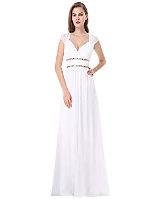 This dress is fully lined and padded enough to make wearing a bra optional Featuring ruched V-Neckline and open back, with a button at the top of back The empire waist is accentuated with two bands of beautiful gold beading, adding flattering feminin...