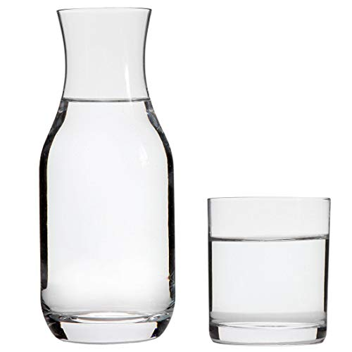 Lily's Home Bedside Night Water Carafe with Tumbler Glass, Use in Bedroom Bathroom, or Kitchen, Use Cup as Lid, Lead Free Glass. 16 Ounces