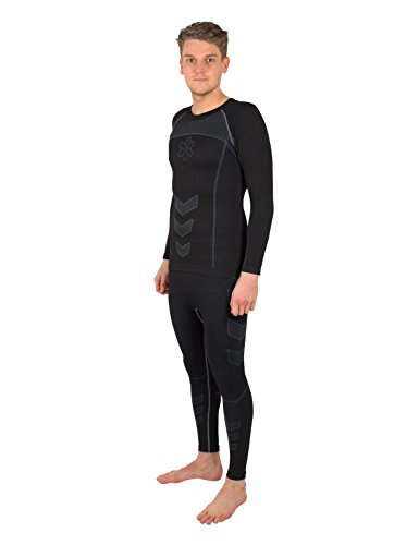 Gregster Set da Sci Uomo - Maglia Termica + Pantaloni Termici Aderenti - Ideale per Sport nella Neve, Snowboard, Trekking o Attivit all'Aperto nella Stagione Invernale - Colore Nero