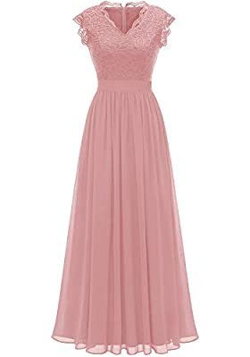 The upper part of the dress is lace; Chiffon above the waist Design: Zipper Back, V-neck, sleeveless,elegant and chic Whether you are dressing for a wedding party, prom, cocktail party or other formal party, this sophisticated long dress is a perfect...