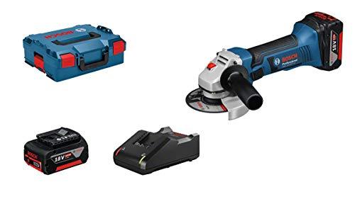 Bosch Professional 18V System Meuleuse angulaire sans fil GWS 18-125 V-LI (2 batteries 18V 4,0Ah, Ø de meule/de disque: 125mm, dans une L-BOXX)