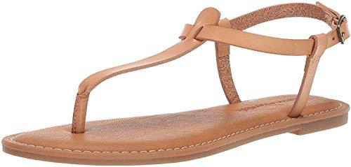 Amazon Essentials - Sandali da donna, stile casual, a infradito, con cinturino alla caviglia, Beige...