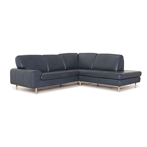 Willi Schillig leather corner sofa blue sofa couch