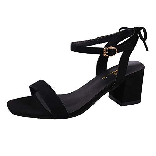 POLP Sandalias de tacón Mujer Zapatos Tacón Bajo Cómodo Cuadrado Heel Shoes Moda Casual para Chica Sólido Hebilla Correa de Tobillo Negro Rosa Caqui 35-40