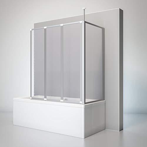 Schulte D1603 01 01 Duschwand Well mit Seitenwand, 129 x 140 x 75 cm, 3-teilig faltbar, Kunstglas Tropfen-Dekor, alunatur, Duschabtrennung für Wanne