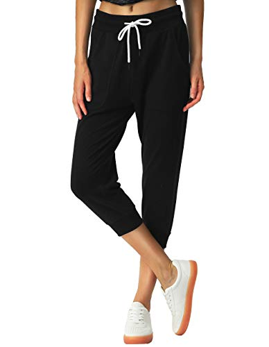 SPECIALMAGIC Women's Sweatpants Cropped Jogger French Terry Running Pants Lounge Loose Fit Drawstring Waist with Side Pockets Black M 5
