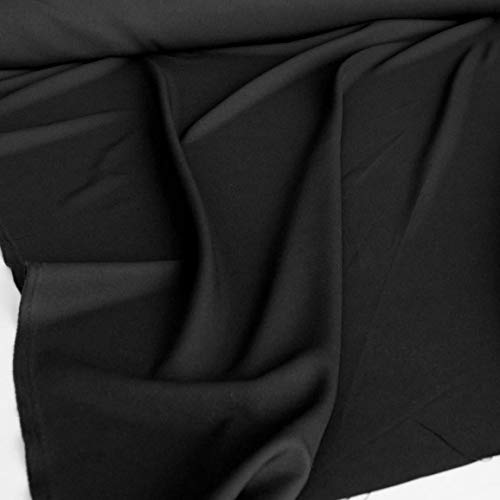 TOLKO Modestoff | Dekostoff universal Stoff zum Nähen und Dekorieren | Blickdicht, knitterarm | Meterware (Schwarz) Bekleidungsstoffe, Dekostoffe, Vorhangstoffe, Baumwollstoffe