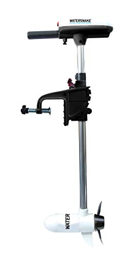 """Watersnake T24 ASP - 24 Pound Thrust 12v Electric Saltwater Trolling Motor with Transom Mount, 24"""" Shaft, White"""