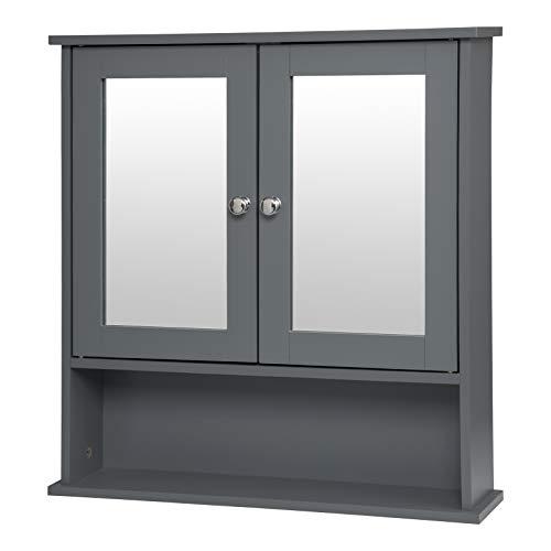 EUGAD Spiegelschrank Badezimmerspiegel Hängeschrank Badezimmer Wandschrank Badschrank mit 3 Ablagen mit Tür 56x13,5x58,5 Grau