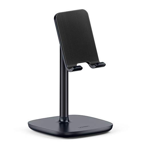 UGREEN Cell Phone Stand Desk Holder Compatible for iPhone 11 Pro Max SE XS XR 8 Plus 6 7, Samsung Galaxy S20 S10 S9 S8 Note 9 8 S7 S6, Google Pixel 4 XL, LG V40 V30 G7 Smartphone, Adjustable (Black)