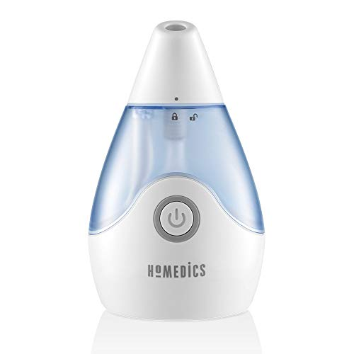 Personal Portable Ultrasonic Cool Mist Humidifier | 650 ML Reservoir, 10 Hour Runtime, Travel Friendly, Single Touch Operation | BONUS WICK FILTER, Whisper Quiet, Compact | HoMedics