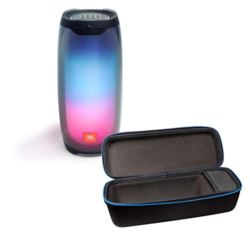 31bTBZBAmjL This bundle includes (1) JBL Pulse 4 portable Bluetooth speaker and (1) divvi! portable hardshell travel case Kick start your party with JBL signature sound and a dazzling LED light show all in 360 degrees. The bold, IPX7 waterproof design shines bright and will keep the tunes flowing for up to 12 hours on a single charge.