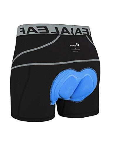 BALEAF Herren Fahrradhose Kurz Gepolstert Atmungsaktive Fahrradunterhose Coolmax 4D Gel Sitzpolster Grau XL