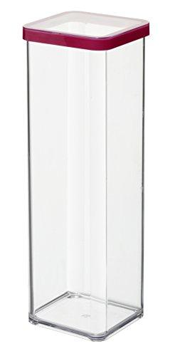 Rotho Loft Vorratsdose 2 l, Kunststoff (BPA-frei), transparent / rot, 2 Liter (10 x 10 x 28,5 cm)