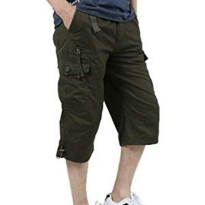 JYG Men's Twill Elastic Cargo Shorts Below Knee 3/4 Capri Pants with Belt