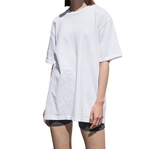 Lunga T Shirt Donna Moda Estive Bianco Nero Cotone Casual Eleganti Larghe Basic Maglietta Tunica Taglie Forti Oversize (Bianco, XL)