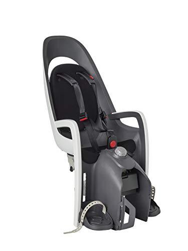 HAMAX HAM553001 - Seggiolino da Bambino per Bicicletta con Supporto Regolabile, Modello Caress W, Colore Grigio/Bianco/Nero