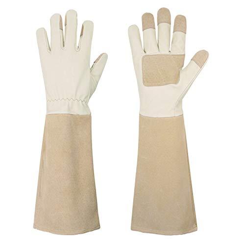 HANDLANDY Gartenhandschuhe aus Schweinsleder für Damen und Herren,Atmungsaktive und Robuste Lange Lederhandschuhe,Einheitsgröße,Beige