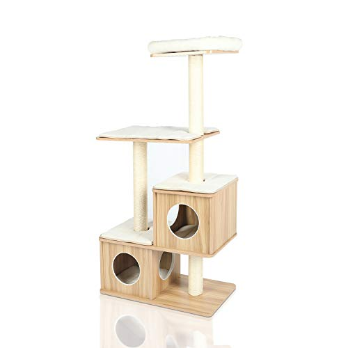 "LAZY BUDDY Cat Tree, 54"" Wooden Modern Cat Tower, 4 Levels for Cat's Activity, Cat Furniture with Removable and Washable Mats for Kittens, Large Cats and Pets (Small)"
