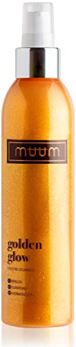 muum - Golden Glow crema hidratante con brillo, con Aloe Vera - Tonificante, iluminadora y anti imperfecciones - Partículas con efecto brillo - Revitaliza y rejuvenece tu piel - 200 ml.