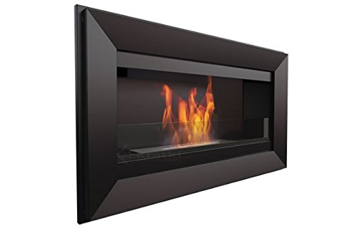 KRATKI biochimenea Bioethanol Fireplace with Glass – Measures 880 x 510 mm – Opaque Black