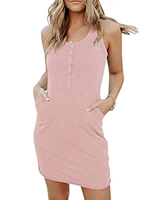 Material: Cotton+ Polyester. This cute solid dress is very lightweight, soft, strethcy, skin-friendly, and comfortable to wear, not too thin or thick, fashion and casual, perfect for relaxed everyday wear Features: Sexy scoop neckline, front buttons ...