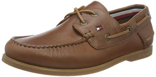 Tommy Hilfiger Classic Leather Boat Shoe, Zapatillas DE Piel CLÁSICO Hombre, De Color Caqui del Desierto, 44 EU