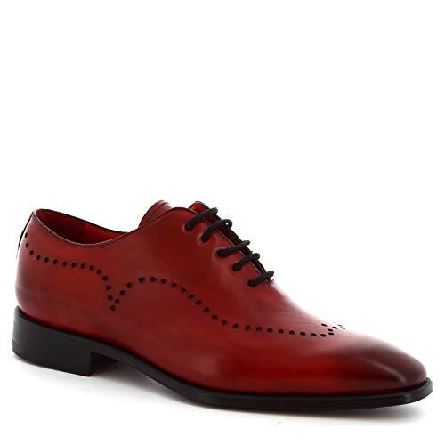 Leonardo Shoes Scarpe Wholecut da Uomo Artigianali in Pelle di Vitello Rossa - Codice Modello: 6881I18 Tom Montecarlo delav Rosso - Taglia: 41 EU