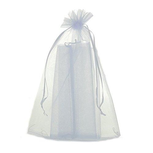 ZALAGO 20 cm x 30 cm Sacchettino in Organza Bianco regalo gioielli sacchettino, 50 pz