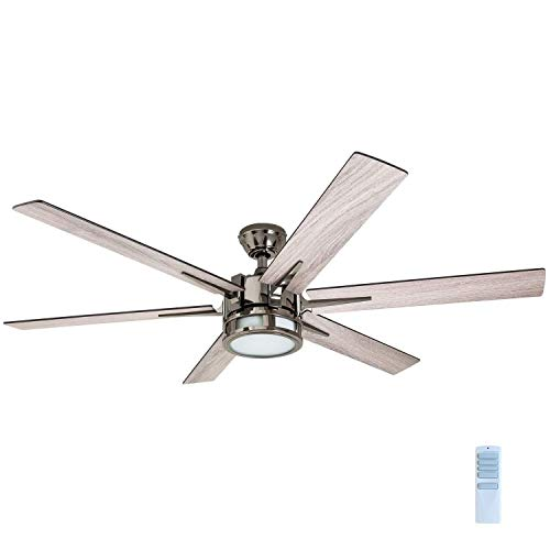 Honeywell Ceiling Fans 51035-01Kaliza Modern LED Ceiling Fan with Remote Control, 6 Blade Large 56', Gun Metal 52'