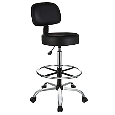 Drafting stool with black bonded leather upholstery—ideal for home or workplace 250-pound weight capacity; adjustable seat height (from 30.3 to 36.2 inches) 360-degree swivel; chrome arched base with heavy-duty, dual-wheel casters for smooth maneuver...