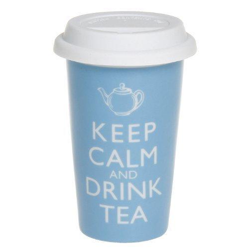 Robert Taubman Ltd - Tazza da viaggio con doppio rivestimento in ceramica e coperchio in silicone con scritta Keep calm and drink tea