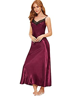 Material:100% Polyester. Fabric has no stretch. Spaghetti Strap, Floral Lace, V Neck, Cami Dress, Sleeveless Crochet trim details, satin material, comfortable to wear, suitable for night wear. Occasion:Perfect for Night Wear, Valentine's Day nightwea...