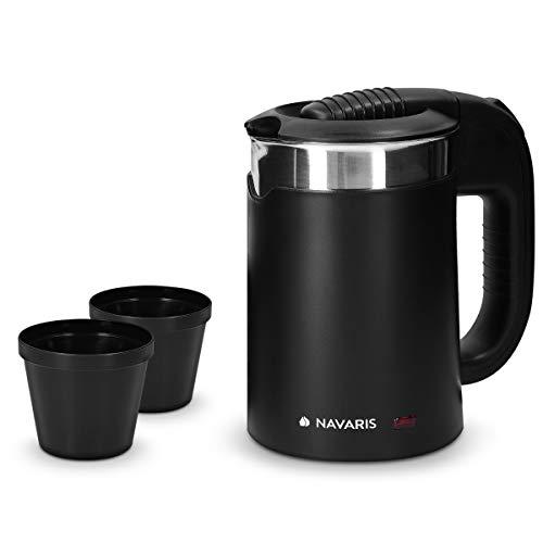 Navaris Hervidor de Agua de Viaje 0.5 L - Mini Tetera para hervir Agua con 2 Tazas - Mini Calentador eléctrico y portátil para Camping o Viaje 1100W