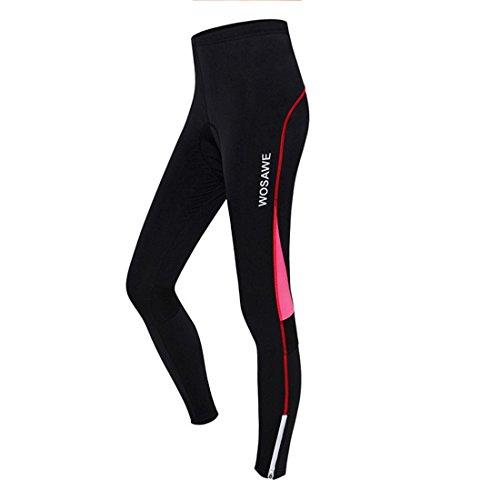 GWELL Damen Lang Radhose mit Sitzpolster Gepolstert Radlerhose Atmungsaktiv Fahrradkleidung Sporthose rot L