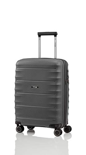 TITAN 4-Rad Handgepäck Koffer mit TSA Schloss, erfüllt IATA-Bordgepäckmaß, Gepäck Serie HIGHLIGHT: Leichte Hartschalen Trolleys im Carbon Look, 842406-04, 55 cm, 38 Liter, anthracite (grau)