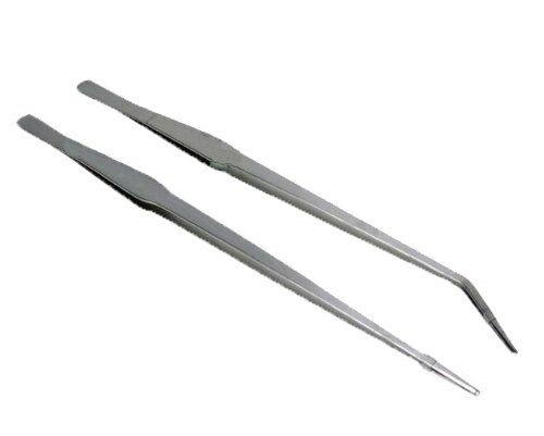 Kondolen 27cm ロングサイズ ピンセット(ストレート カーブ) 2本セット