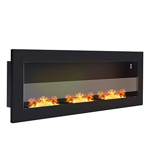 Wall/Insert Mounted Bio Ethanol Fireplace Gel Fireplace Fireplace Stove with 3 Burner Smokeless Clean Burning for Indoor Outdoor Garden Patio Bedroom, Black