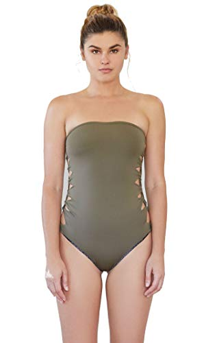 31dLpXmZILL Soft olive color Strapless bandeau onepiece Fully lined in snake print lining.