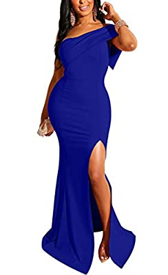Material:90% polyester and 10% spandex,stretchy,soft and cozy fabric US Size: S:4-6,M:8-10,L:12-14,XL:16-18 One shoulder,one sleeve,high waisted ,patchwork,side split desigh,backless,back zipper,long maxi dress,elegant,sexy,classic Suitable for eveni...