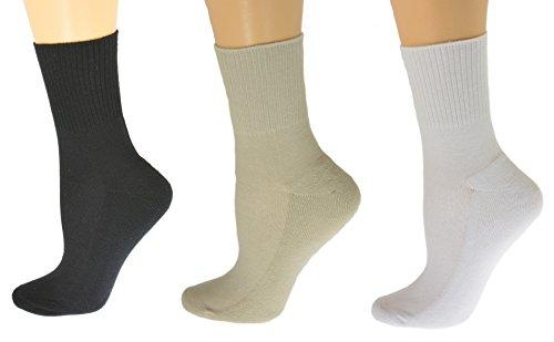 Womens Diabetic Socks Cotton Ankle Seamless Toe Cushioned Sole Solid Colors (9-11, White/Khaki/Black)
